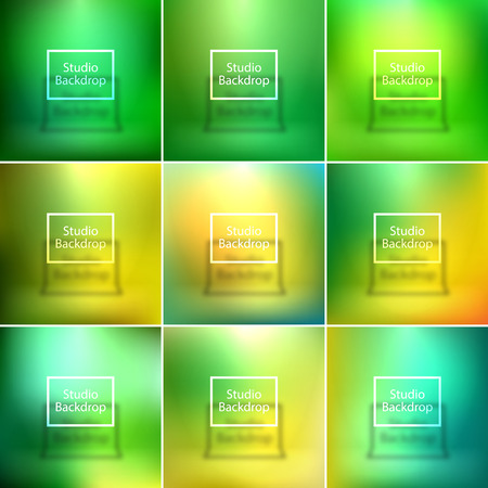green yellow: Studio backdrop, smooth backgrounds set, green, yellow colors, vector illustration