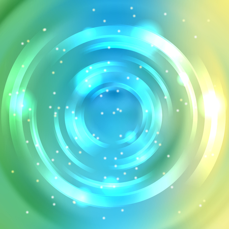 Abstract circle background, Vector design. Vector infinite round tunnel of shining flares. Yellow, blue, green colors.