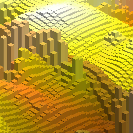 Abstract cubes background for design. Vector  Yellow, orange colors.