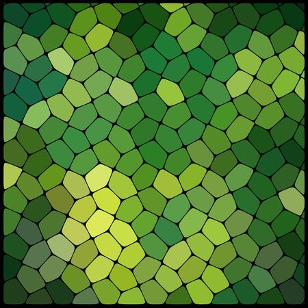 rounded edges: Abstract background consisting of black lines with rounded edges of different sizes and green geometrical shapes. Vector illustration. Green color. Illustration