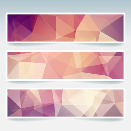 triangular banner: Abstract banner with business design templates. Set of Banners with polygonal mosaic backgrounds. Geometric triangular vector illustration. Brown, beige colors. Illustration