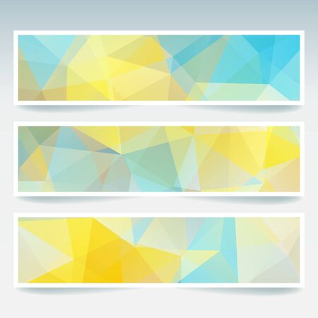 triangular banner: Abstract banner with business design templates. Set of Banners with polygonal mosaic backgrounds. Geometric triangular vector illustration. Yellow, blue colors. Illustration