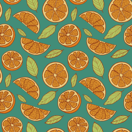 orange slices: Seamless orange slices background, colorful vector illustration