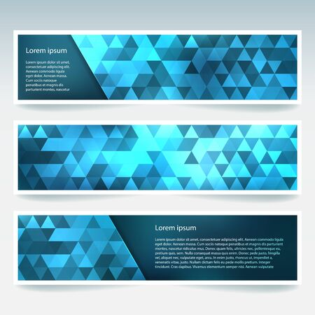 stiker: Vector banners set with polygonal abstract triangles. Abstract polygonal low poly banners. blue color.