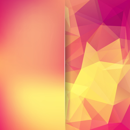 Background of geometric shapes. Blur background with glass. Colorful mosaic pattern. Vector EPS 10. Vector illustration. Yellow, pink, orange colors.