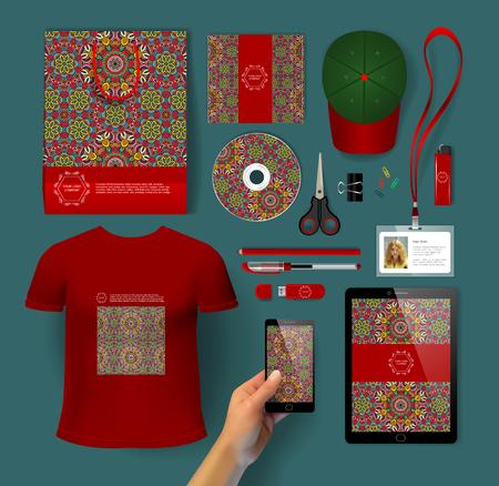 usb disk: Corporate identity templates: disk, smartphone, pen, tablet PC, T-shirt, cap, scissors, lighter, USB flash drive, bag, gift, badge
