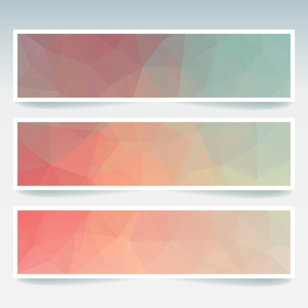 pink and green: Horizontal banners set with polygonal triangles. Polygon background, vector illustration. Pastel pink, green, blue colors. Illustration