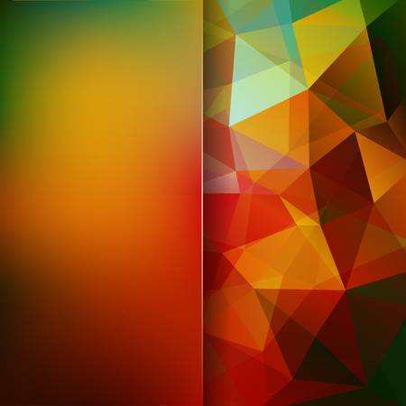 double page: Abstract background consisting of triangles. Geometric design for business presentations or web template banner flyer. Vector illustration. Yellow, green, brown, orange colors.