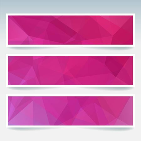 stiker: Vector banners set with polygonal abstract triangles. Abstract polygonal low poly banners. Pink color.