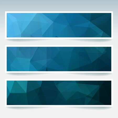 stiker: Vector banners set with polygonal abstract triangles. Abstract polygonal low poly banners. Dark blue colors.