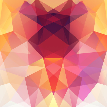 deep pink: Background made of triangles. Square composition with geometric shapes. Eps 10 Yellow, white, pink, orange colors.