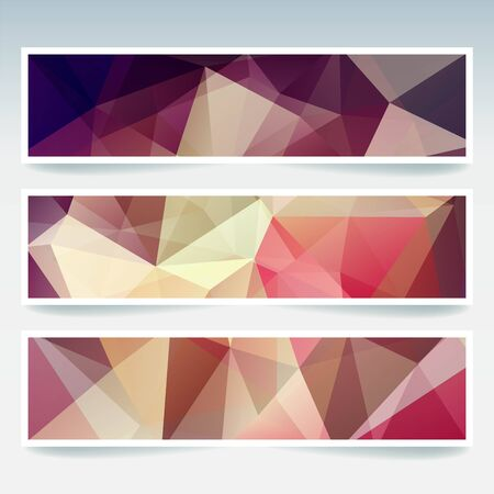 triangular banner: Abstract banner with business design templates. Set of Banners with polygonal mosaic backgrounds. Geometric triangular vector illustration. Illustration