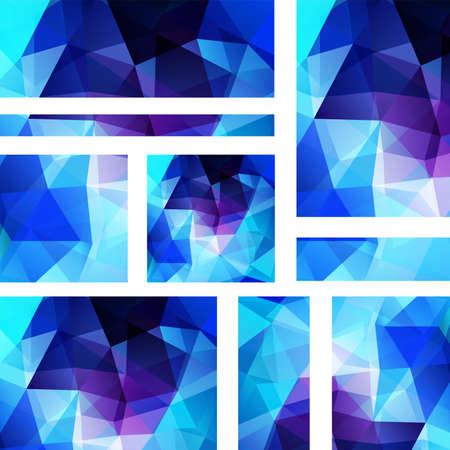 stiker: Vector banners set with polygonal abstract triangles. Abstract polygonal low poly banners. Blue, white, purple colors.