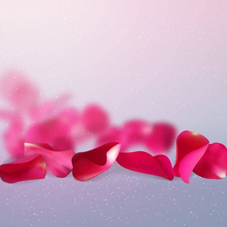valentine or wedding background with falling red rose petals on gray background, vector illustration