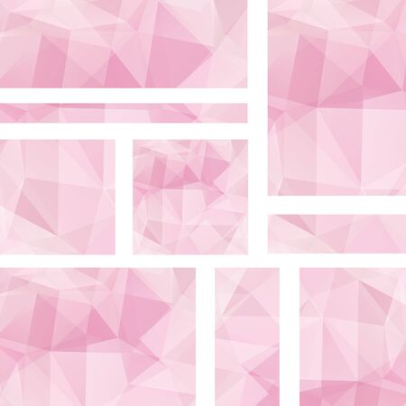 triangular banner: Abstract banner with business design templates. Set of Banners with polygonal mosaic backgrounds. Geometric triangular vector illustration. Pink color.