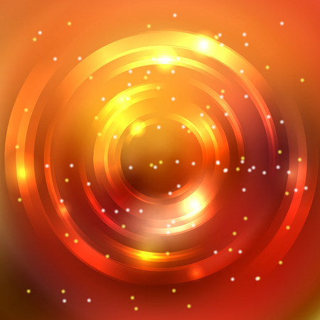 Abstract colorful background, Shining circle tunnel. Elegant modern geometric wallpaper. Vector illustration. Yellow, orange colors. Çizim