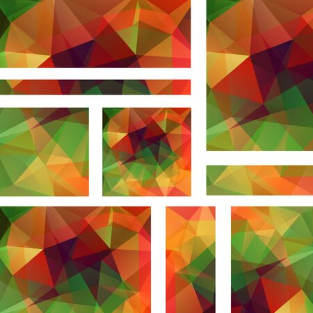 triangular banner: Abstract banner with business design templates. Set of Banners with polygonal mosaic backgrounds. Geometric triangular vector illustration. Green, red, orange colors.