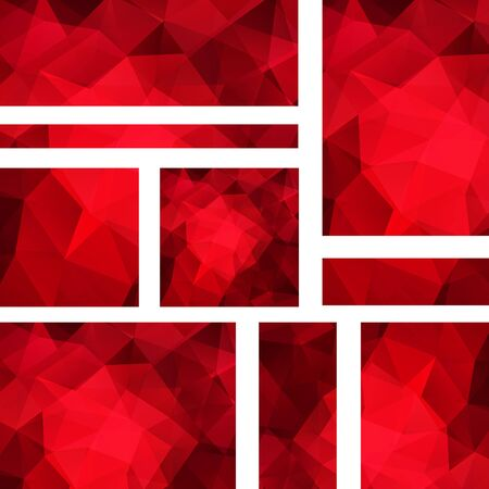 triangular banner: Abstract banner with business design templates. Set of Banners with polygonal mosaic backgrounds. Geometric triangular vector illustration. Red color. Illustration