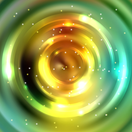 whirl: Vector round frame. Shining circle banner. Vector design. Glowing spiral. Yellow, green colors. Illustration