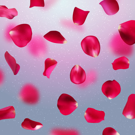 valentine background with falling red rose petals on gray background, vector illustration Illustration