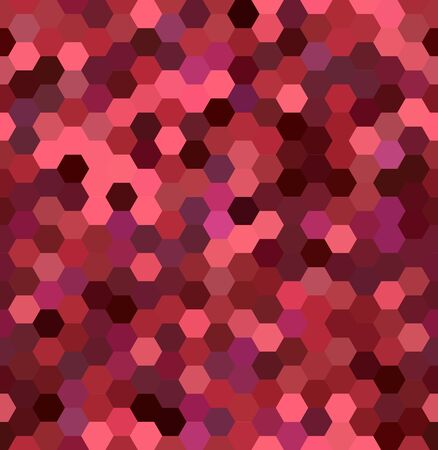 pink and brown: Abstract seamless background consisting of hexagons. Geometric design for business presentations or web template banner flyer. Vector illustration. Red, pink, brown colors.