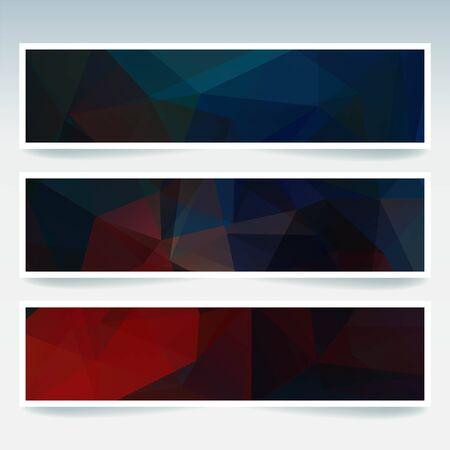 비즈니스 디자인 서식 파일을 추상 배너입니다. 다각형 모자이크 배경 배너의 집합입니다. 기하학적 삼각형 벡터 일러스트 레이 션. 빨강, 파랑, 검정