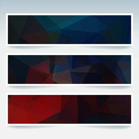 Abstract banner with business design templates. Set of Banners with polygonal mosaic backgrounds. Geometric triangular vector illustration. Red, blue, black colors. Vectores