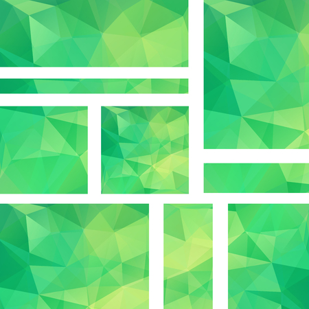 stiker: Abstract banner with business design templates. Set of Banners with polygonal mosaic backgrounds. Geometric triangular vector illustration. Green color.
