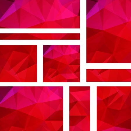 triangular banner: Abstract banner with business design templates. Set of Banners with polygonal mosaic backgrounds. Geometric triangular vector illustration. Red, pink colors.