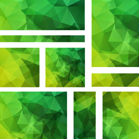 Set of banner templates with abstract background. Modern vector banners with polygonal background. Green color.