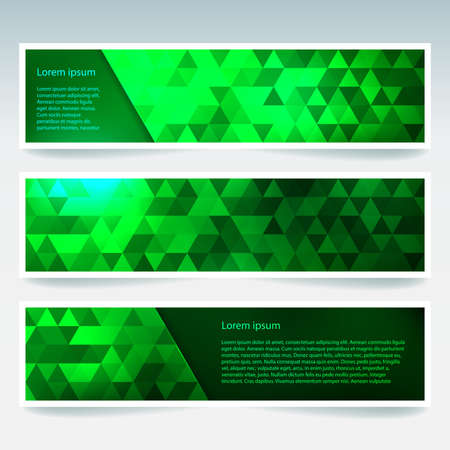 neon green: Set of banner templates with abstract background. Modern vector banners with polygonal background. Neon green color.