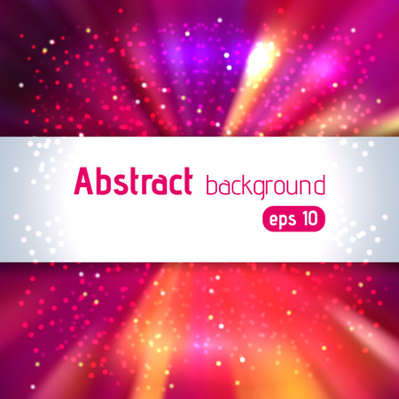blinding: Background with colorful light rays. Abstract background. Vector illustration. Pink, purple, red, orange colors.