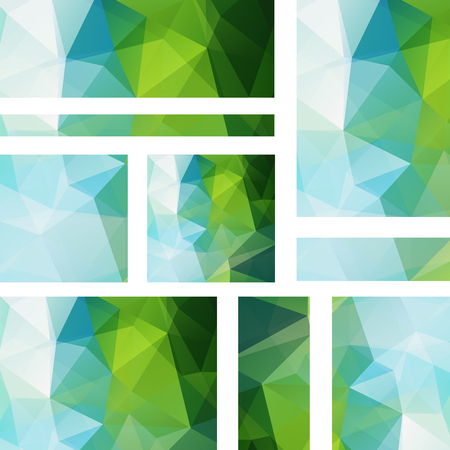 stiker: Vector banners set with polygonal abstract triangles. Abstract polygonal low poly banners. Blue, green colors.