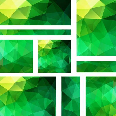 stiker: Vector banners set with polygonal abstract triangles. Abstract polygonal low poly banners. Yellow, green colors.