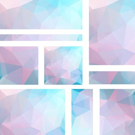 Vector banners set with polygonal abstract triangles. Abstract polygonal low poly banners. Pastel pink, blue colors.