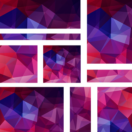stiker: Vector banners set with polygonal abstract triangles. Abstract polygonal low poly banners. Purple banners.