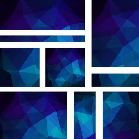stiker: Vector banners set with polygonal abstract triangles. Abstract polygonal low poly banners. Dark blue color.
