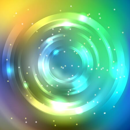 energy flow: Abstract circle background, Vector design. Glowing spiral. The energy flow tunnel. Yellow, green, blue colors.