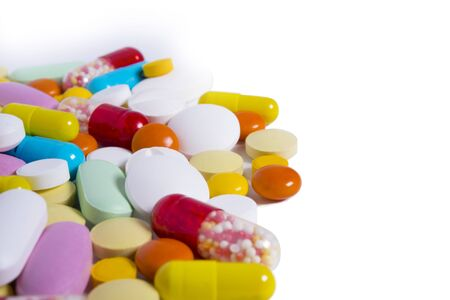 ecstasy pill: pills and capsules on light background