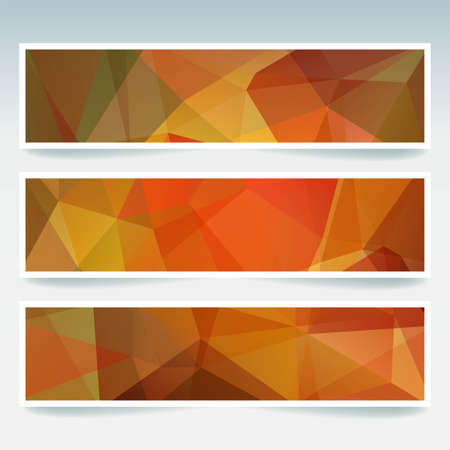 stiker: Vector banners set with triangles. Abstract polygonal low poly backdrops. Orange colors.