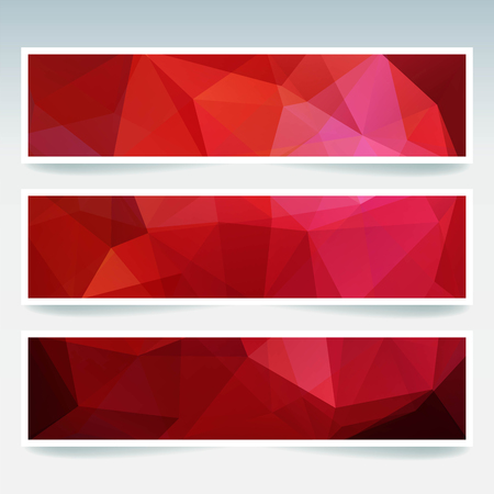 stiker: Vector banners set with polygonal abstract triangles. Abstract polygonal low poly banners. Red color.