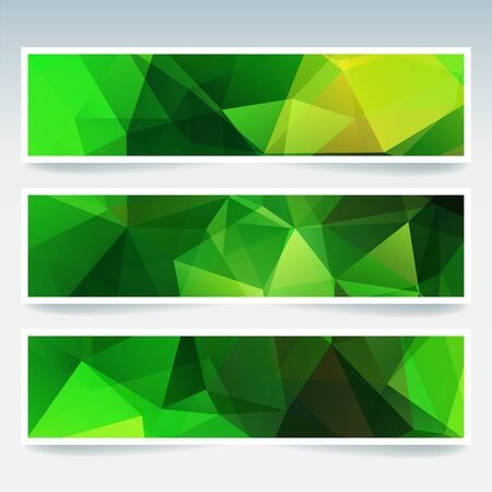 stiker: Vector banners set with polygonal abstract triangles. Abstract polygonal low poly banners. Green color Illustration