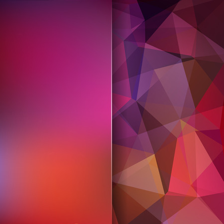 double page: Abstract background consisting of triangles. Geometric design for business presentations or web template banner flyer. Vector illustration. Red, pink, orange, brown colors.