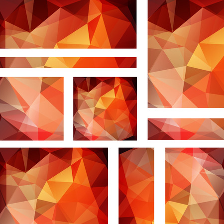 stiker: Set of banner templates with abstract background. Modern vector with polygonal triangles. Yellow, orange colors.