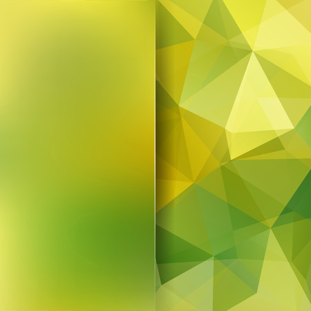 matt: Abstract geometric style green design background. Blur backdrop with yellow matt glass. Vector illustration Illustration