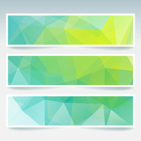 backdrops: Vector banners set with polygonal triangles. Abstract low poly backdrops. Yellow, blue, green colors.