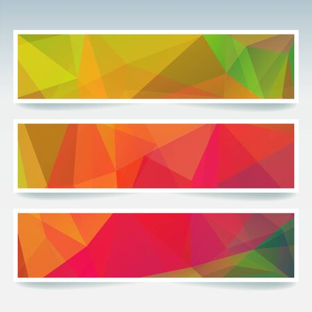electric grid: Vector banners set with polygonal abstract triangles. Abstract polygonal low poly banners. Yellow, green, red colors.