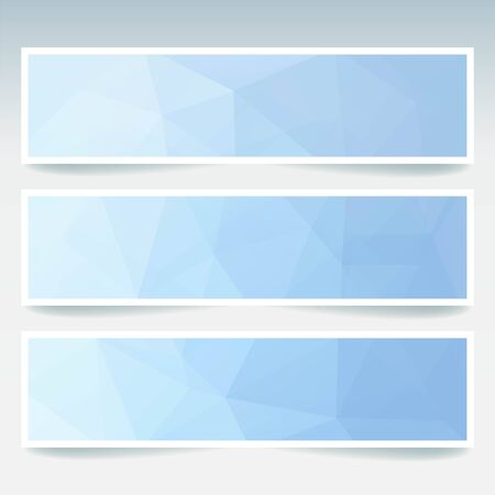 stiker: Vector banners set with polygonal abstract triangles. Abstract polygonal low poly banners. Blue, white colors.