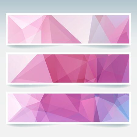 stiker: Vector banners set with polygonal abstract triangles. Abstract polygonal low poly banners. Pink, white colors.