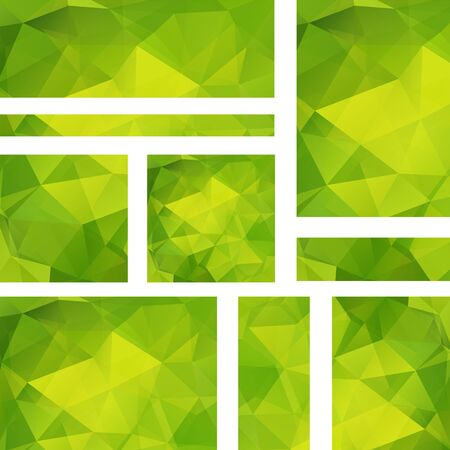 stiker: Horizontal banners set with polygonal triangles. Polygon background, vector illustration. Green color